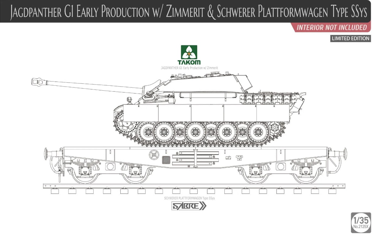 Jagdpanther G1 Early w/ Zimmerit & Schweber Platformwagen Type SSys (interior not included) Limited Edition - Image 1