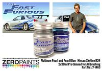 1463 Fast and Furious Platinum Pearl/Pearl Blue Set (Paul Walker Nissan Skyline R34)