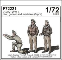 USAAF WW II pilot, gunner and mechanic (3 pcs) 1/72 - Image 1